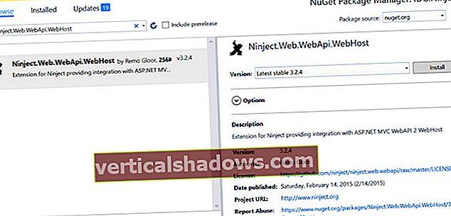 Hvordan implementere DI i WebAPI ved hjelp av NInject